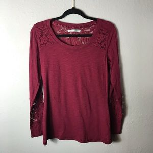 Maurice's burgundy lace long sleeve t-shirt